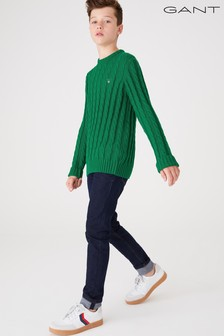 GANT Teen Boys Cotton Cable Crew Sweater