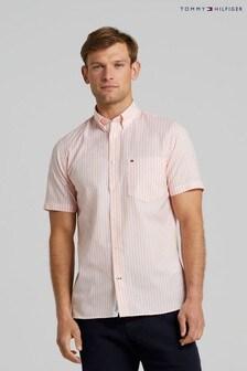 Tommy Hilfiger Orange Natural Stripe Short Sleeve Shirt
