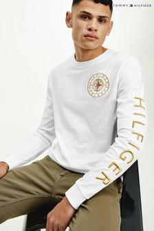 Tommy Hilfiger White Icon Roundall Long Sleeve T-Shirt