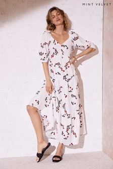 Mint Velvet Elyse Print Linen Midi Dress