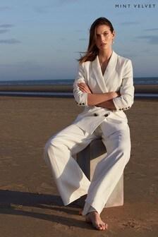 Mint Velvet White Wide Leg Trousers