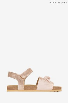 Mint Velvet Pink Glitter Leather Sandals