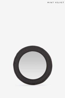 Mint Velvet Black Leather Compact Mirror