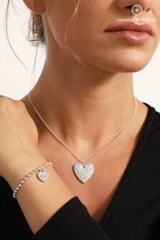 Caramel Jewellery London Pave Heart Friendship Silver Necklace & Bracelet Set