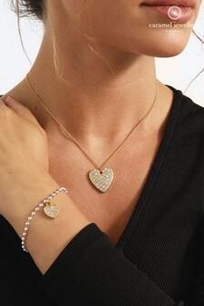 Caramel Jewellery London Pave Heart Friendship Gold Necklace & Bracelet Set