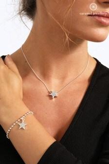 Caramel Jewellery London Pave Star Friendship Silver Tone Necklace & Bracelet Set