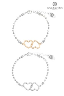 Caramel Jewellery London Hearts Entwined Gold/Silver Tone Charm Friendship Bracelet Set