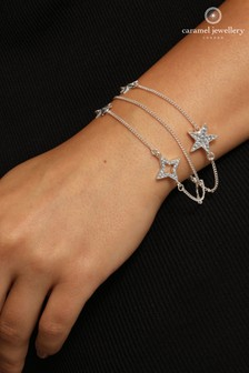 Caramel Jewellery London Sparkling Star Layered Silver Tone Crystal Effect Charm Bracelet