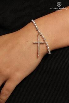 Caramel Jewellery London Cross Charm Silver/Rose Gold Tone Friendship Bracelet
