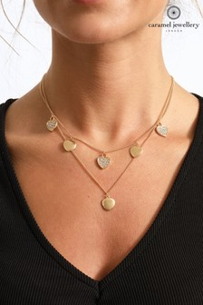 Caramel Jewellery London Hearts Of Sparkle Gold Tone Layered Crystal Effect Charm Necklace