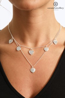 Caramel Jewellery London Hearts Of Sparkle Silver Tone Layer Crystal Effect Charm Necklace