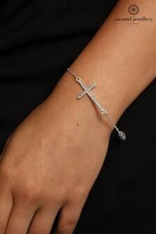 Caramel Jewellery London Silver Tone Cross Charm Crystal Effect Friendship Bracelet