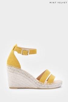 Mint Velvet Lily Yellow Espadrille Wedge Sandals