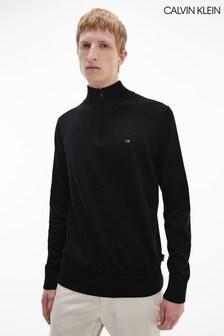 Calvin Klein Black Cotton Silk 1/4 Zip Sweater