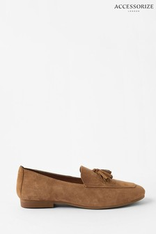Accessorize Tan Suede Loafers