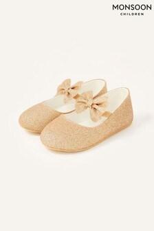 Monsoon Gold Glitter Bow Walker Shoes