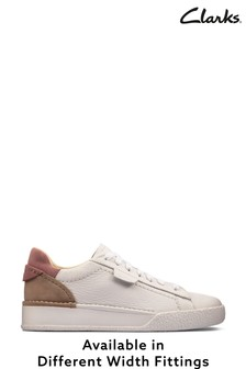Clarks White Rose Combi Craft Cup Lace Shoes