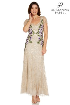 Adrianna Papell Natural Beaded Long Gown