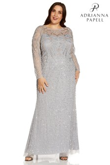 Adrianna Papell Silver Plus Beaded Mesh Covered Gown