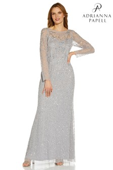 Adrianna Papell Silver Beaded Mesh Covered Gown