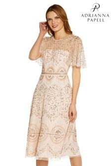 Adrianna Papell Pink Beaded Flutter Dress