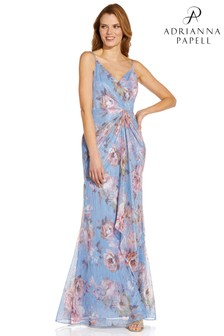 Adrianna Papell Blue Print Metallic Crinkle Gown