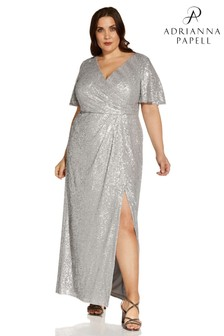 Adrianna Papell Silver Plus Wave Sequin Draped Gown