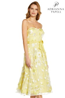 Adrianna Papell Yellow Floral Embroidered Dress