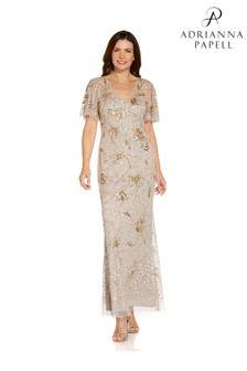 Adrianna Papell Natural Beaded Flutter Sleeve Gown