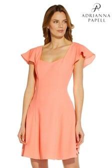 Adrianna Papell Orange Sweetheart Short Crepe Dress