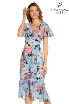 Adrianna Papell Blue Floral Faux Wrap Ruffle Dress