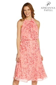 Adrianna Papell Pink Printed Popover Chiffon Dress