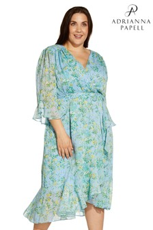 Adrianna Papell Plus Blue Floral Ruffle Wrap Dress