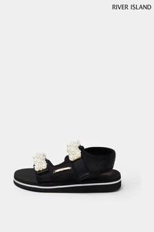 River Island Black EVA Pearl Sports Sandals
