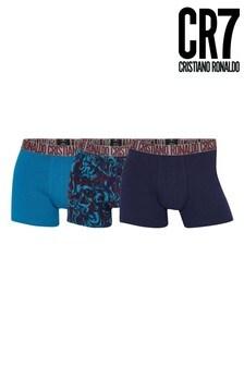 CR7 Men's Blue Cotton Fashion Trunk 3 Pack