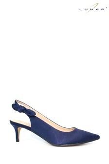 Lunar Blue Indie Slingback Kitten Heel Shoes