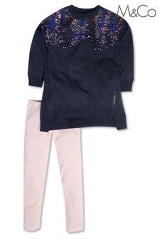 M&Co Blue Sequin Sweat Dress And Legging Set