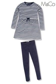 M&Co Blue Stripe Dress Set