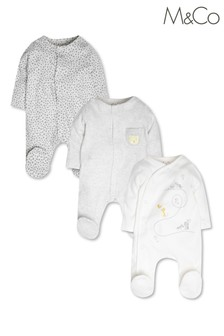 M&Co Grey Animal Sleepsuits 3 Pack