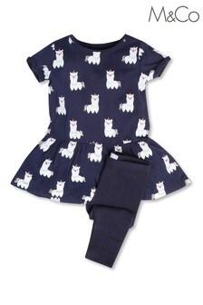 M&Co Blue Lamacorn Dress And Legging Set