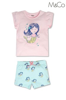 M&Co Pink Mermaid Top and Shorts