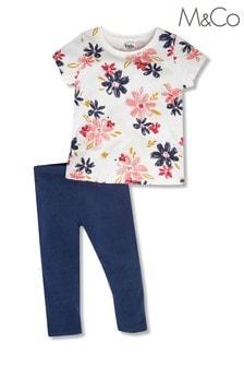 M&Co Cream Floral Top and Legging Set