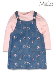 M&Co Pink Floral Pinafore With T-Shirt