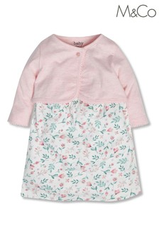 M&Co Pink Floral Dress And Cardigan
