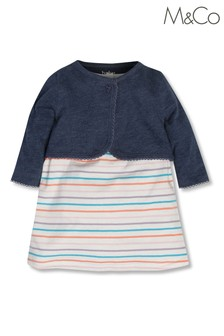 M&Co White Striped Dress And Cardigan
