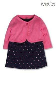 M&Co Blue Polka Dot Dress And Cardigan