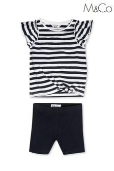 M&Co Blue Stripe Frill Outfit Set