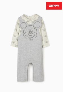 Zippy Grey/White Mickey Mouse Dungarees And Bodysuit