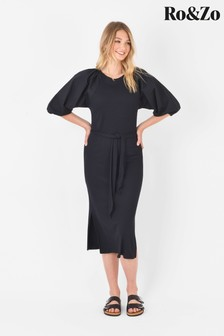 Ro&Zo Black Jersey Contrast Puff Sleeve Dress
