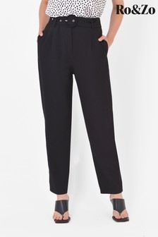 Ro&Zo Black High Waisted Belted Trousers